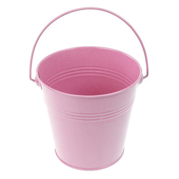 Metal Pail Buckets Party Favor, 5-inch, Light Pink