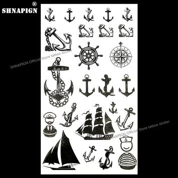 SHNAPIGN Marine Pirate Anchor Temporary Tattoo Body Art Arm Flash Tattoo Stickers 17*10cm Waterproof Fake Henna Painless Sticker