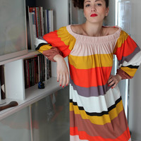 Handmade one size oversized plus size multicolored stripes cotton jersy tricot caftan dress
