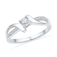 10kt White Gold Womens Round Diamond Solitaire Promise Bridal Ring 1/10 Cttw 100565