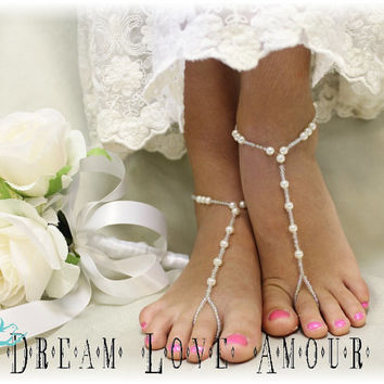 Pearl wedding Barefoot sandals- pearl bead beach wedding bridal foot jewelry handmade  barefoot sandal-wedding shoes-footless sandles-B5