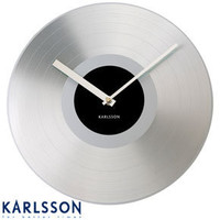 Karlsson Platinum Record Clock ? silver designer clocks, silver Karlsson clocks