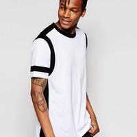 ASOS Longline T-Shirt With Monochrome Cut And Sew Detail