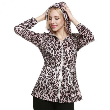 Women Casual Hooded Leopard Long Sleeve Full Zipper Drawstrings Showerproof Rain Coat Mac Parka Jacket