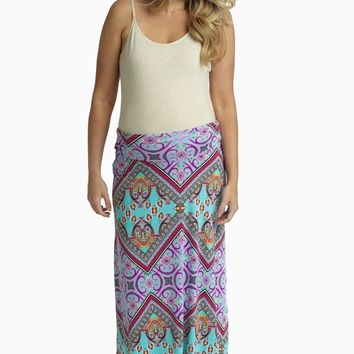 Mint Green Vibrant Multi-Color Printed Maternity Maxi Skirt