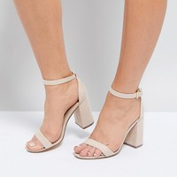 London Rebel Barely There Block Heel Sandal at asos.com