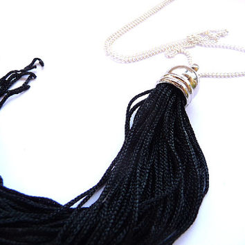 Tassel Necklace, Fringe necklace, tassel necklace, black tassel necklace, black fringe necklace, long fringe necklace, long tassel necklace,