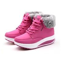 Winter Female Plus Velvet Swing Shoes Snow Platform Boots Women Thermal Cotton-padded Shoes Flat Ankle Boots