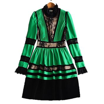 XF New Shop Special High Quality Fashion Designer Runway Autumn Dress Pleated Women'S Long Sleeve  Velvet Vintage Lace Dress