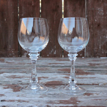 Vintage Pair of Two (2) | Small Wine Glasses | DIY Wedding Decor & Housewarming Gifts