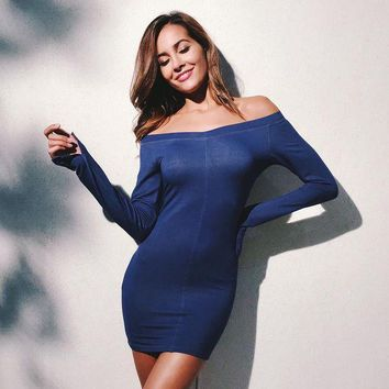 ESBONS Women Simple Fashion Stitching Bodycon Off Shoulder Split Long Sleeve Solid Color Mini Dress