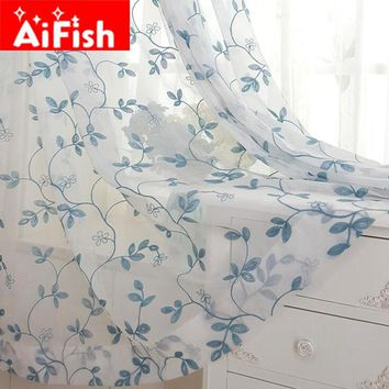 Pastoral Cotton Linen Blue Leaves Embroidered Window Screening Tulle Bedroom Partition Panels Curtains For Living Room AF024#30