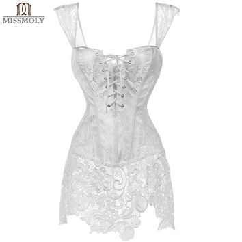 Miss Moly Womens Sexy Stempunk Corset Dress Brocade Lace up Lacework Gothic Waist Cincher Corsets Waist Trainer Corselet