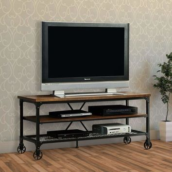 """Industrial Style 54"""" TV Stand & Entertainment Center with 2 Shelves, Brown & Black"""