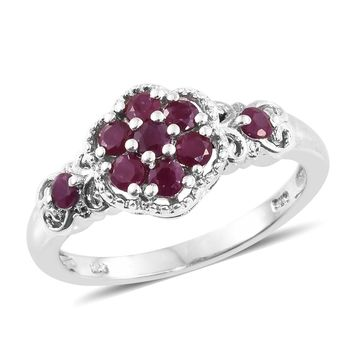 Burmese Ruby Platinum Over Sterling Silver Ring