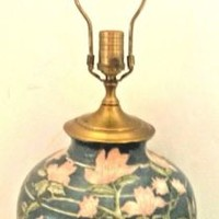 Vintage Porcelain Wildwood Lamp Oriental Floral Ginger Jar Made in Hong Kong