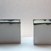 Pure white cube set made from fine bone china and burn looking finish rims - geometric decor