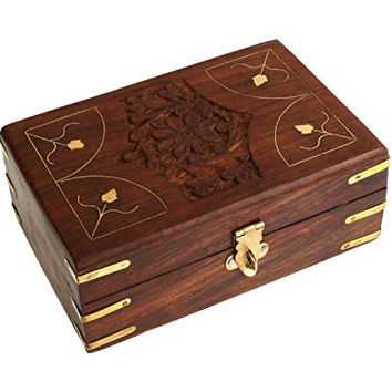 Antique Finished Wooden Keepsake Box Jewelry Storage Chest with Intricate Floral Hand Carvings