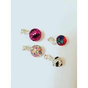 Genuine 925 Sterling Colorful Cubic Zirconia Globe Pendant
