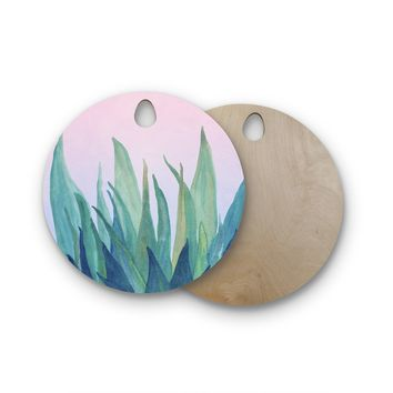 "Viviana Gonzalez ""Botanical Vibes 10"" Pink Green Watercolor Round Wooden Cutting Board"