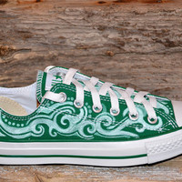 Tribal Swirls on Green Converse All Stars