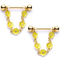 "9/16"" Clear Gem Gold Tone Yellow Glow Flower Nipple Ring Set"