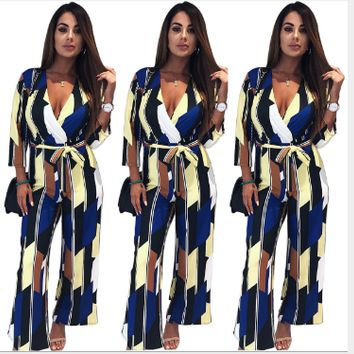 Jumpsuits for Women Sexy Deep V-neck Split Long Sleeve One Piece Romper Boho Printed Chiffon Playsuit Beach Holiday Overalls