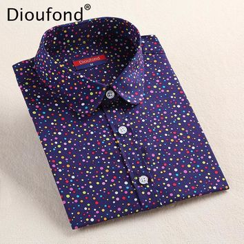Dioufond 2017 Fashion Polka Dot  Blouse Long Sleeve Shirt Women Blouses Cotton Women Shirts Red Blue Dot Top Blusas Women Tops 1