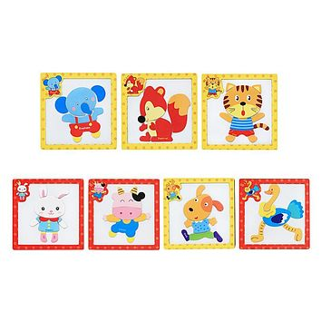 Cartoon 3D Wooden Magnetic Animals Cognition Tangram Puzzle Jigsaw Board Kids Early Educational Toys Baby Hand Grasp Toy Puzzles