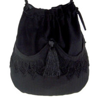 Black Lace Drawstring Bag  Black Velvet Bag  Bohemian Bag  Crossbody Purse Dark Cosplay Bag Forest Mori Girl