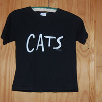 Vintage 80s Broadway Cats Eyes Cropped T-Shirt Tee Shirt Size 6-8 XS Small