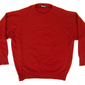 Vintage Barbour Sweater in Red - Wool Pullover British Preppy Jumper Ivy League Menswear - Men's Size Extra Large XL