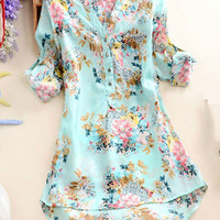 Blue Floral V-Neck Long Sleeve Blouse