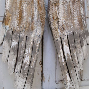 Large wooden angel wings wall sculpture gray white distressed hand carved metal home decor Anita Spero