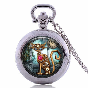 Steampunk Cat Necklace New Fashion Glass Photo Vintage Steampunk Cat Pendant Steampunk Clock Necklace Steampunk Jewelry  FREE SHIPPING
