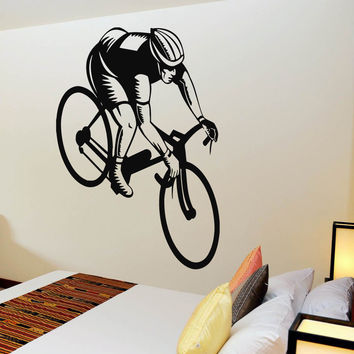 Wall Decals Vinyl Decal Sticker Murals Gym Decor Sport Boy Cycling Bicycle Kj193