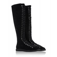 Alexander Wang Emmanuel High Suede Lace-Up Boot - Black Tall Flat Boots - ShopBAZAAR