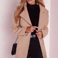 Missguided - Wool Biker Coat Camel