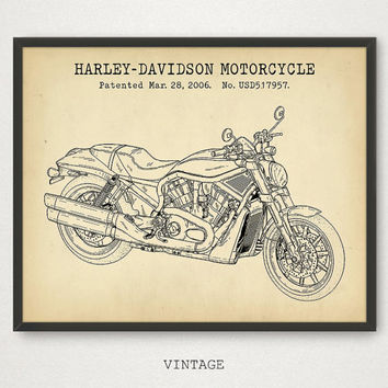 Harley Davidson Motorcycle Poster Printable, Motorcycle Riders Gift, Blueprint Art, Harley Die-Hard Fans Gift for him, Motorcycle Club Decor