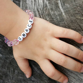 Personalized name bracelet - girl's bracelet - boys bracelet - children's bracelet - personalized bracelet - beaded bracelet - cuff bracelet
