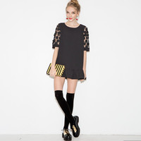 Black Mini Dress in Floral Lace Sleeve
