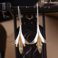 Latest New Style Fashion 925 Silver Drop Earrings Flower Silver Earrings Jewelry Pendientes Brincos Fashion Jewelry