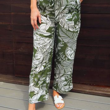 Let's Cruise Pants: Olive/White