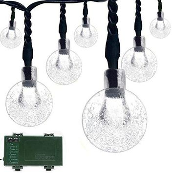 Globe Battery Operated Timer String Lights 30 LED Bubble Crystal Ball Fairy Christmas Lighting Decor For Outdoor, Indoor, Garden, Patio, Bedroom Wedding Decorations (White)