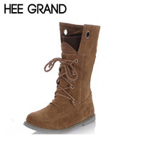 HEE GRAND Women Boots High Quality Riding Boots Shoes Woman Lace-up Pu Leather Mid-calf Motorcycle Boot Bota Feminina