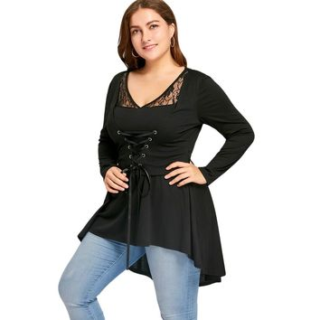 Gamiss Women Vintage Lace Up High Low Top Women Clothes Autumn Long Sleeve Peplum Tunic Tops Sexy Lace Blusas Plus Size XL-5X