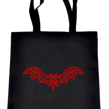 Gothic Wrought Iron Vampire Red Bat Black Tote Book Bag Elegant Handbag