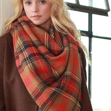 Plaid Scarf - Orange and Brown