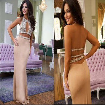 2017Sexy Luxury Halter Crystal Two Pieces Mermaid Prom Dresses Vestido de festa Bespoke Champagne Chiffon Long Prom Dress Unique