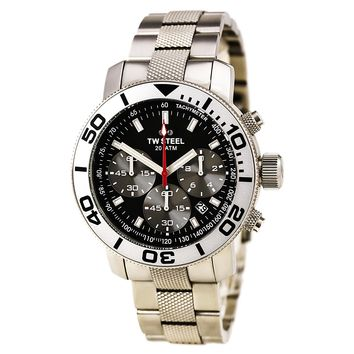 TW Steel TW706 Men's Grandeur Diver Black Dial Stainless Steel Bracelet Chrono Dive Watch